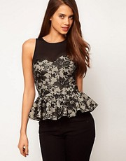 ASOS Peplum Top in Lace with Mesh Detail