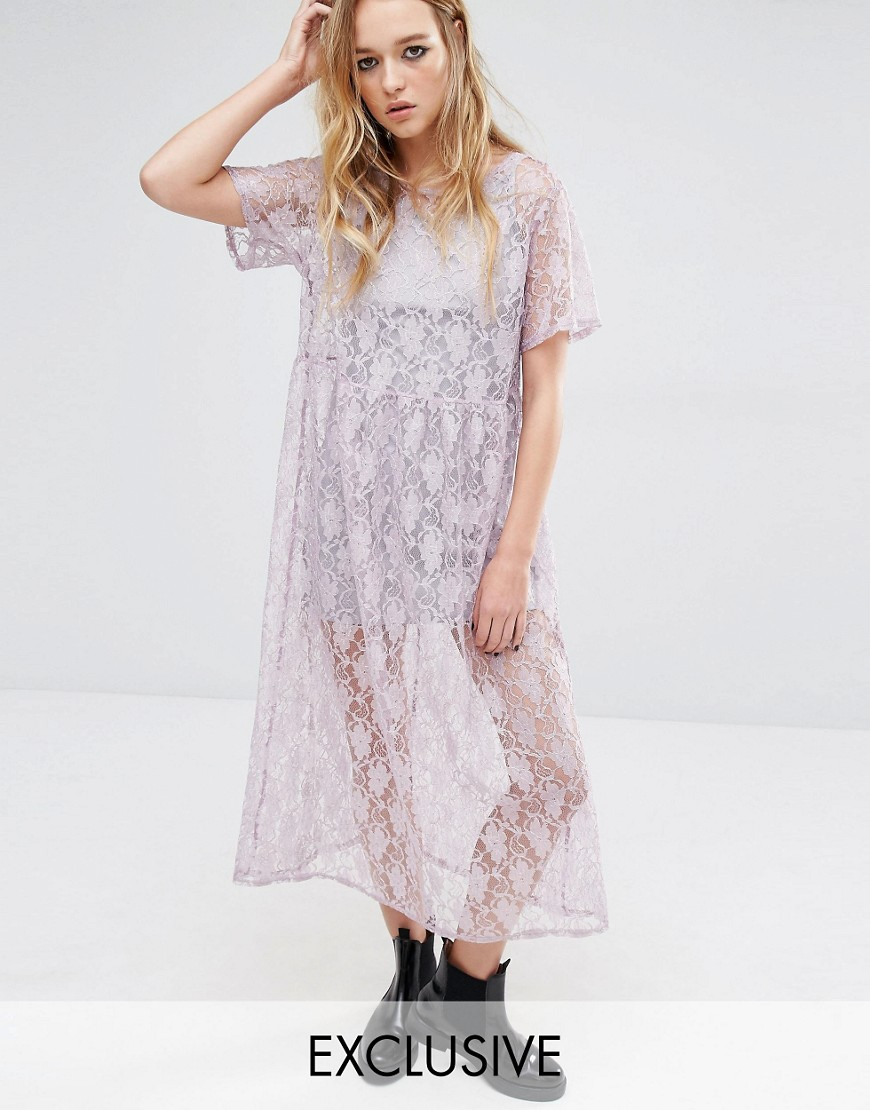 Reclaimed Vintage Awkward Length Smock Dress In Lace - Purple