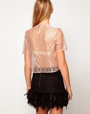 Image 2 ofASOS Top in Lace with Crystal Bow Trim