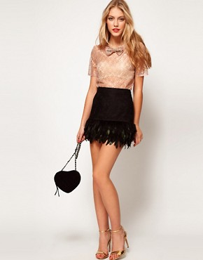 Image 4 ofASOS Top in Lace with Crystal Bow Trim