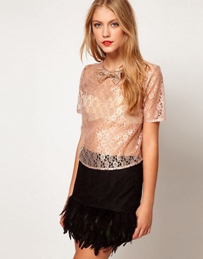 Image 1 ofASOS Top in Lace with Crystal Bow Trim