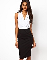 ASOS Pencil Dress With Woven Wrap Top