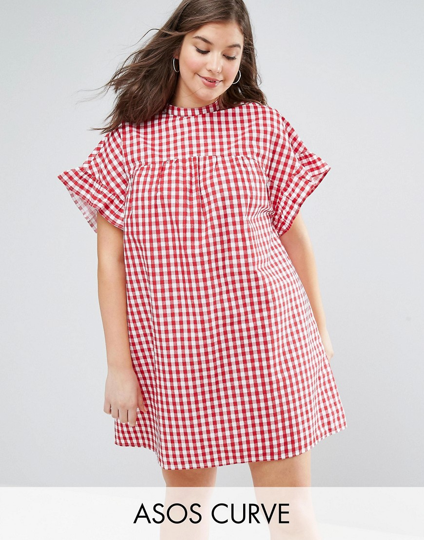 ASOS CURVE Smock Dress in Gingham - Multi