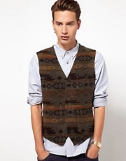 ASOS Slim Fit Aztec Waistcoat in Italian Fabric