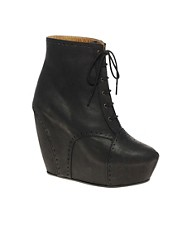 Minimarket Estrid Leather Wedge Lace-Up Boot