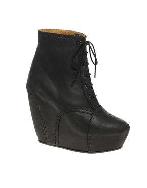 Image 1 of Minimarket Estrid Leather Wedge Lace-Up Boot