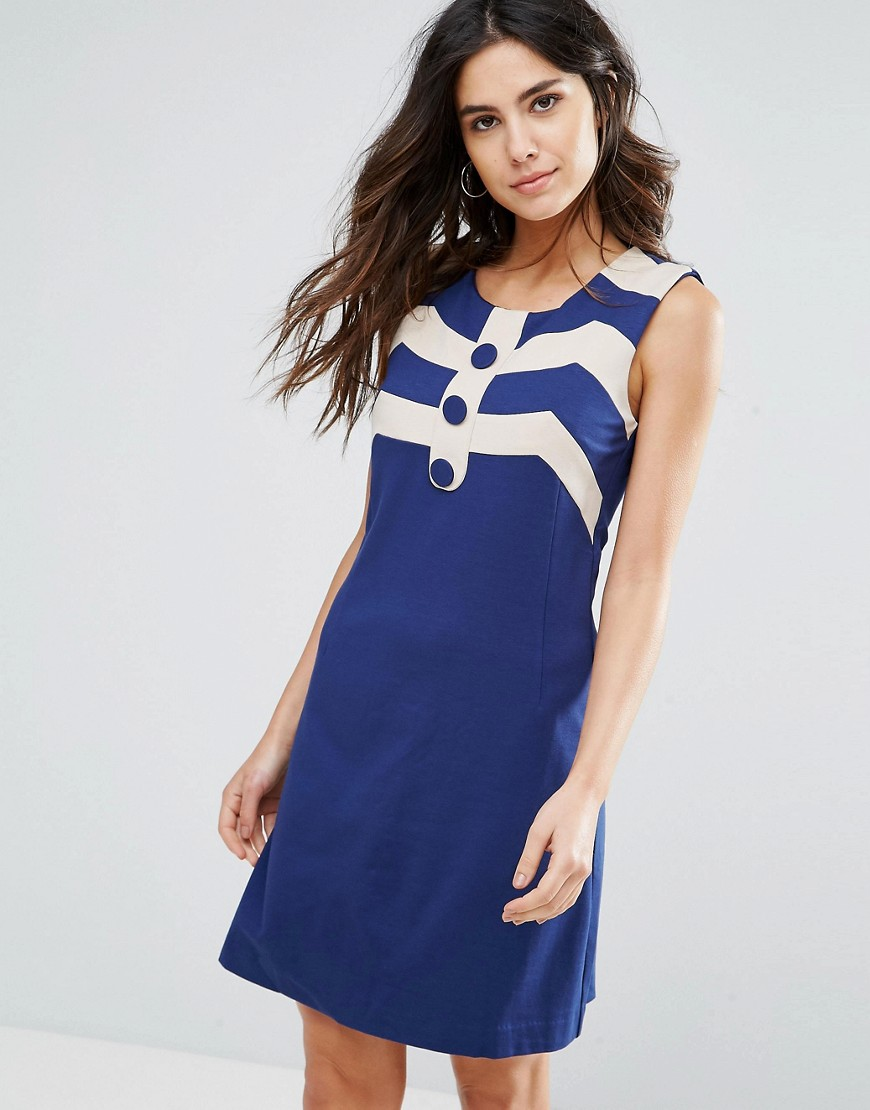 Louche Mary A Line Dress - Navy/white