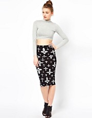 A Wear Cross Print Tube Skirt