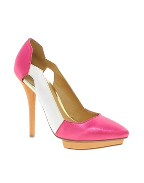 Image 1 ofASOS PROUD Pointed Platforms with Colour Block
