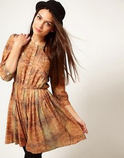 Selected Printed Detail Dress With 3/4 Length Sleeves