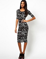 John Zack Midi Dress In Tribal Print