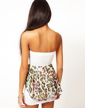Image 2 ofOh My Love Bandeau Animal Chiffon Peplum Dress