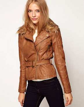 Image 1 ofA Wear Longline Biker With Faux Fur Collar