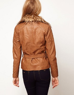 Image 2 ofA Wear Longline Biker With Faux Fur Collar