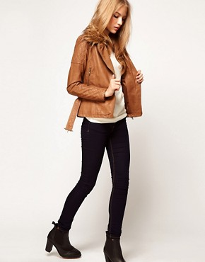 Image 4 ofA Wear Longline Biker With Faux Fur Collar