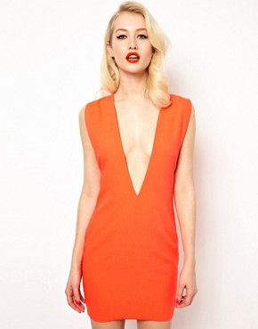 Image 1 ofAqua Joker Shift Dress with Deep V Neck