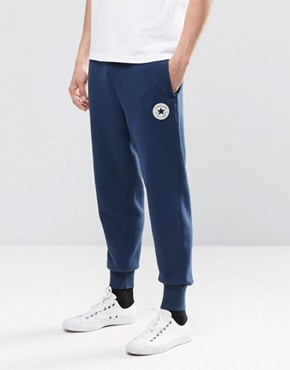 Converse Rib Cuff Patch Joggers In Blue 10002135-A03