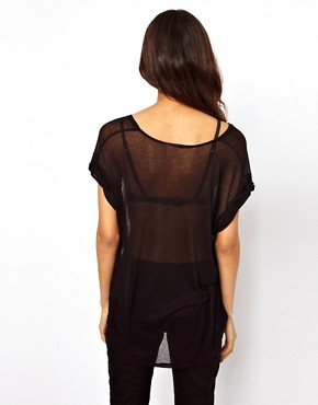 Image 2 of ASOS T-Shirt in Sheer Slouch