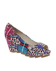 Bronx Textile Print Wedge Sandals