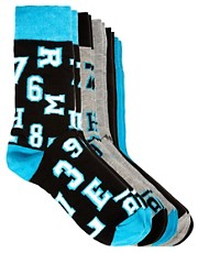 River Island  5erpack Socken mit College-Design