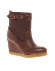 F-Troupe Leather Wedge Ankle Boots With Faux Fur Lining