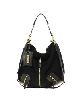 Image 1 ofRiver Island Zip Front Textured Slouch Bag