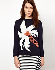 Boutique by Jaeger Palm Tree Intarsia Hand Knitted Jumper