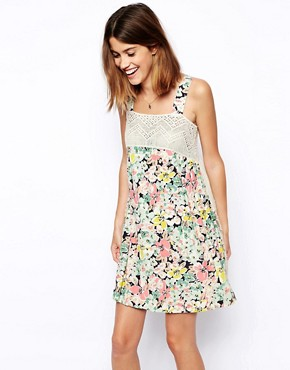 ASOS Premium Smock Dress in Floral Print and Lace