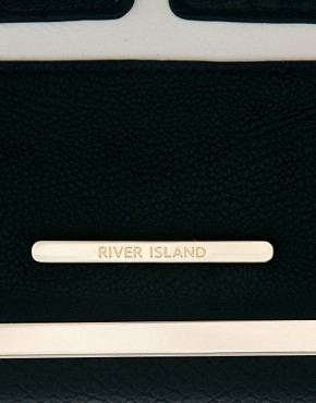 Image 3 ofRiver Island Black Mixed Fabric Cliptop Purse