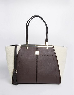 River Island Tote With Contrast Shearling Panel