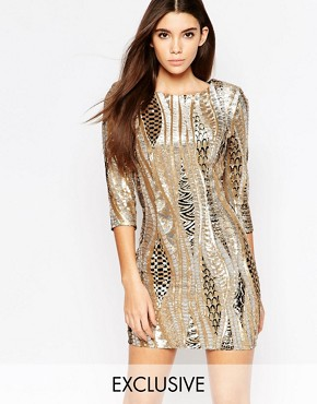 TFNC All Over Sequin Mini Dress With 3/4 Sleeve