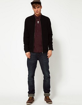 Image 4 of River Island Qulited Jersey Bomber Jacket