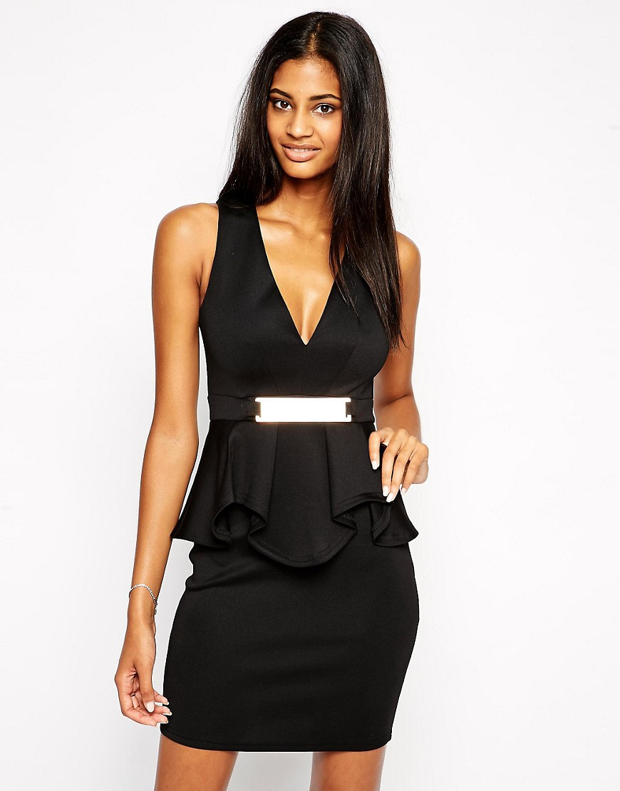 Image 1 of Lipsy Deep V Ruffle Bodycon Dress With Metal Plate
