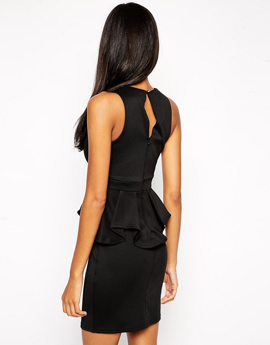 Image 2 of Lipsy Deep V Ruffle Bodycon Dress With Metal Plate