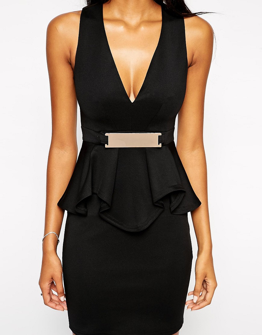 Image 3 of Lipsy Deep V Ruffle Bodycon Dress With Metal Plate