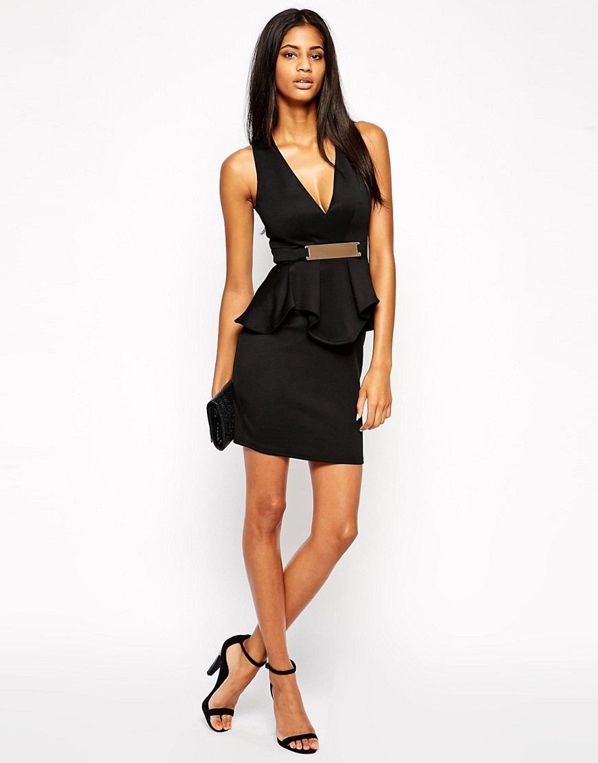 Image 4 of Lipsy Deep V Ruffle Bodycon Dress With Metal Plate