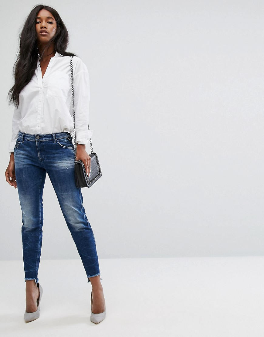 Replay Girlfriend Jean with Step Hem - Dark wash