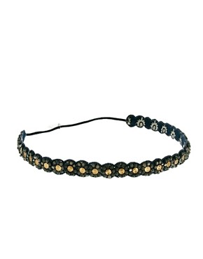 Image 2 of Deepa Gurnani Gunmetal And Crystal Head Band