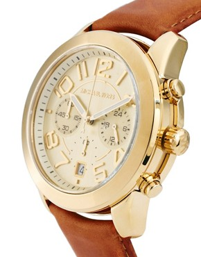 Image 4 ofMichael Kors Tan Leather Strap Watch With Gold Chronograph Face