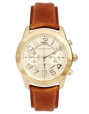 Image 1 ofMichael Kors Tan Leather Strap Watch With Gold Chronograph Face