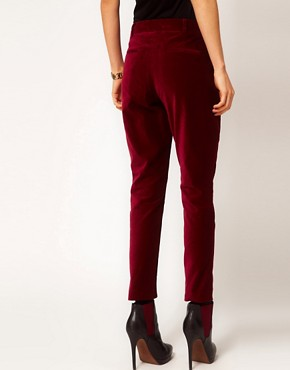 Image 2 ofASOS PETITE Exclusive Slimfit Velvet Trouser