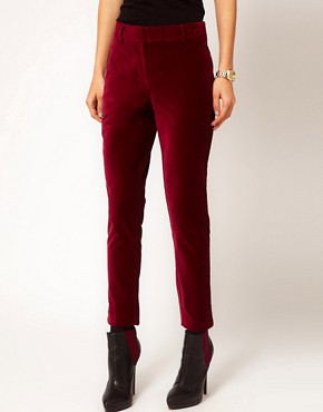 Image 4 ofASOS PETITE Exclusive Slimfit Velvet Trouser