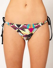 Playful Promises Black Aztec Geometric Print Bikini Bottom