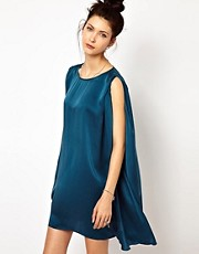 2nd Day Cape Mini Dress in Teal Silk