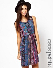ASOS PETITE Smock Dress In Paisley Stripe