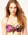 Image 1 ofASOS Bold Tropical Print Fuller Bust Moulded Bikini Top