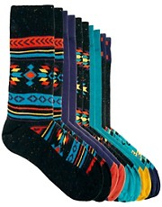 River Island Bright Nep Aztec 5 Pack Socks