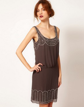 Image 1 ofWarehouse Studded Tie Back Dress