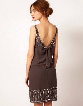 Image 2 ofWarehouse Studded Tie Back Dress