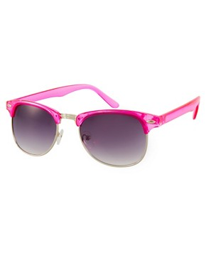Image 1 ofJeepers Peepers Duke Fuscia Round Frame Sunglasses